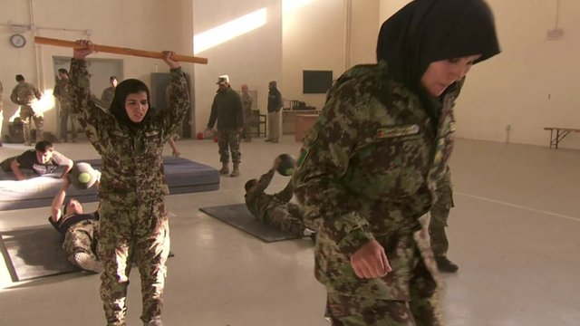 Female Afghan women in army officer training