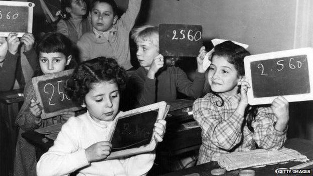 1946 classroom with small boards