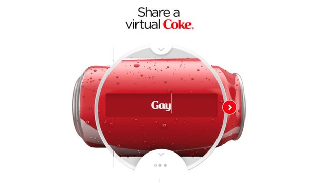 Gay not allowed on coke site