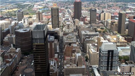 The financial district in Johannesburg