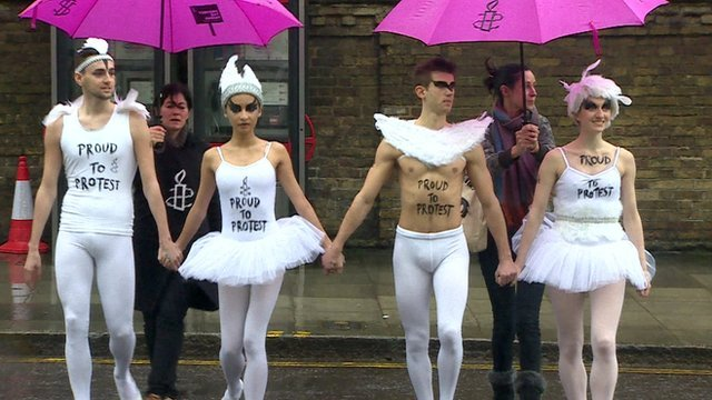 Gay rights protesters