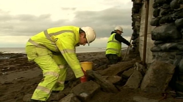 Workers fixing sea wall in Aberystwyth