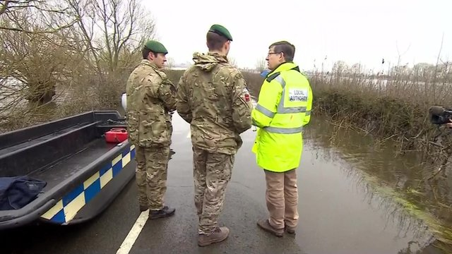 Army Engineers and a local authority official