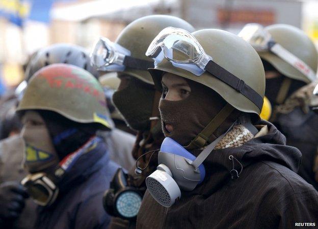 Protesters in Kiev, 31 January