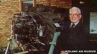 Sir Frank Whittle with one of his engines