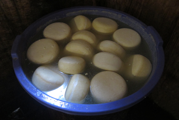 A tub containing the Goma cheese