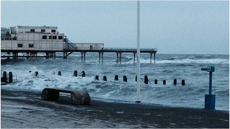 Stormy seas in Aberystwyth early on Saturday morning