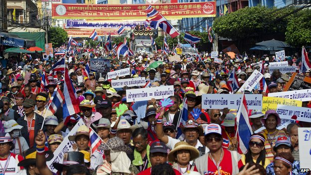Protesters in Bangkok (1 February 2014)