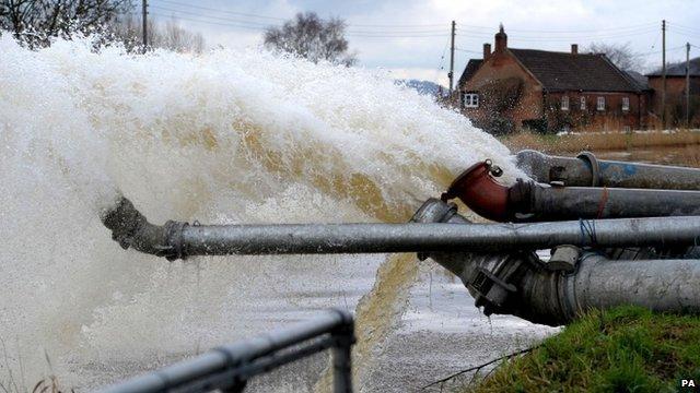 Fire Crews Pump Flood Water Across The Somerset Levels