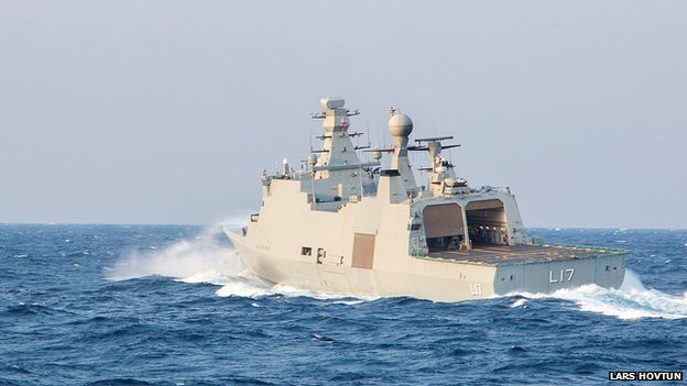 Danish support vessel L17 'Esbern Snare', one of the vessels deployed to bring Syria's chemical agents to destruction. Danish and Norwegian vessels left the Cypriot port of Limassol on 31 January and headed to Syria to escort a delayed shipment of chemical weapons for destruction, a spokesman said.