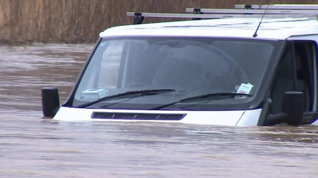 Van caught in floods in Essex