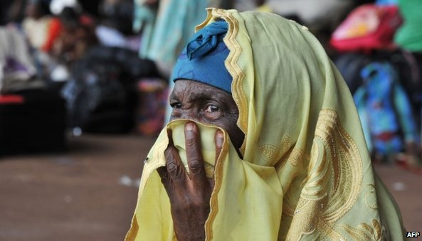 Displaced woman in Central African Republic (30 January 2014)
