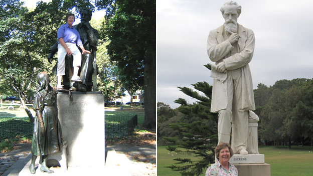 Jane Monk, Dickens' great great granddaughter, at his statues in Philadelphia (left) and Sydney