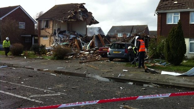 Scene of gas blast in Cloes Lane, Clacton