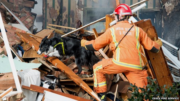 Rescue crew search rubble after Clacton gas explosion