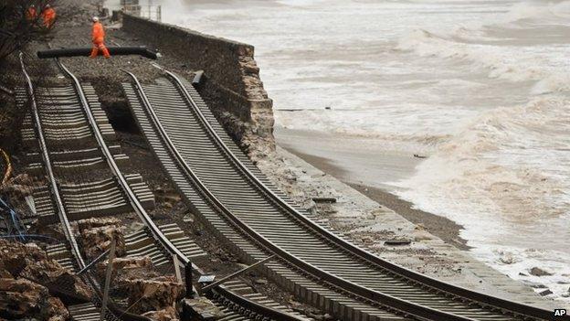 Damage to the railway line at Dawlish