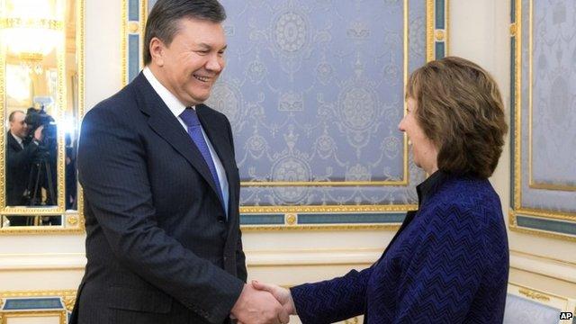 President Viktor Yanukovych and Baroness Catherine Ashton