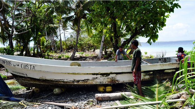 Mr Alvarenga's boat , washed up on Ebon Atoll in the Marshall Islands
