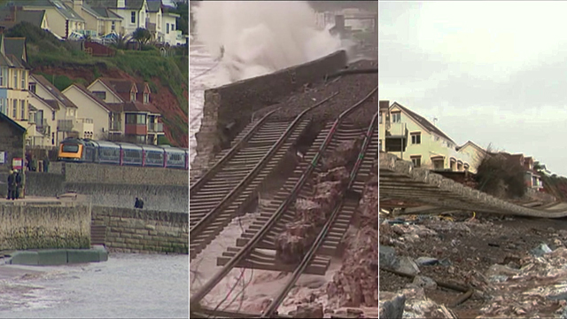 Footage shows how the train line at Dawlish looked before, during and after this week's stormy weather