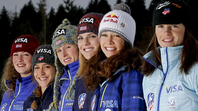 The US women's ski jumping team