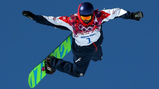 Billy Morgan of Great Britain competes in the men's snowboard slopestyle final
