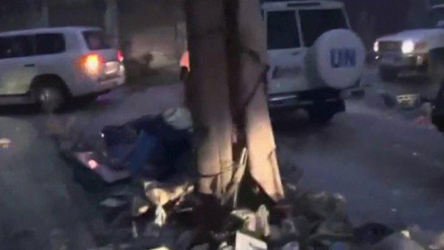 UN vehicles in Homs