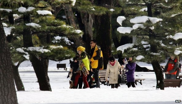 Tourists walk on a snow at a park in Tokyo (9 February 2014)