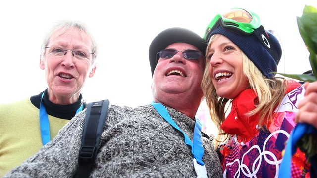 Jenny Jones with her parents
