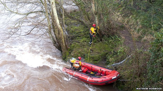 rescue team in river