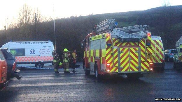 Emergency services at Llangynidr
