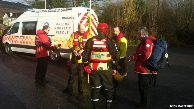 Rescue team in Llangynidr