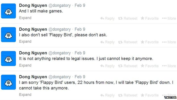 Screenshot of Flappy Bird creator Dong Nguyen's Twitter feed