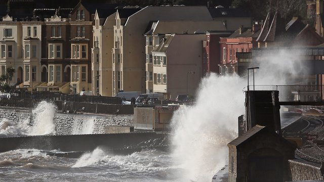 Storms hit the south-west coast of the UK at the weekend