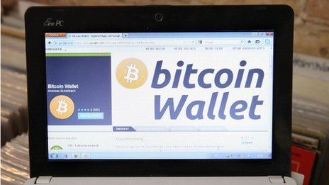 Bitcoin wallet on screen