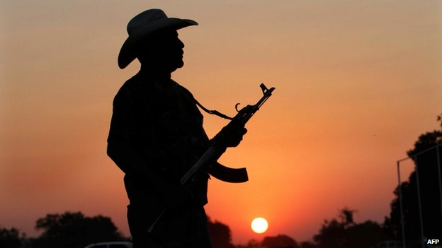 """An armed man from a """"self-defence group"""" poses with his weapon at the entrance of Apatzingan in Michoacan state on 9 February, 2014"""