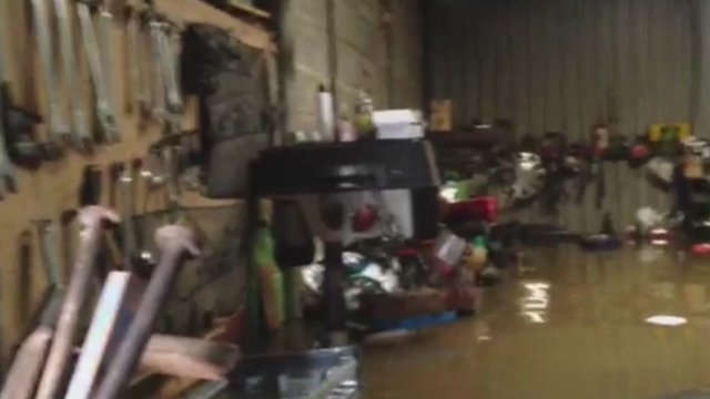 Flooded farm store, Moorland