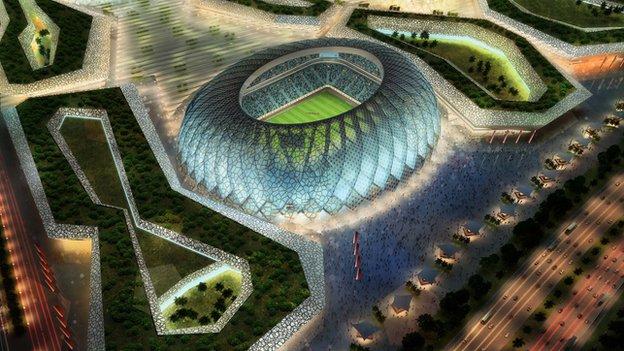 An artist's impression of a 2022 World Cup stadium in Qatar