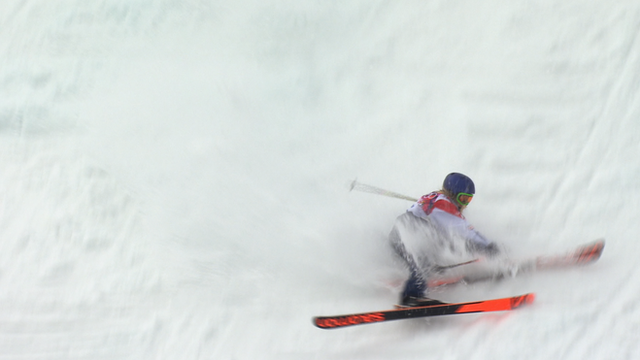 Great Britain's Katie Summerhayes crashes out during her first run in the women's slopestyle skiing final