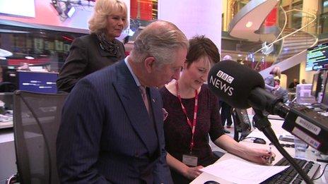 Radio 4 newsreader Kathy Clugston talked Prince Charles and Camilla through her news bulletin