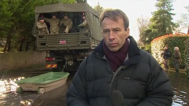 BBC reporter, Ben Brown, in Wraysbury, as British army arrive to help