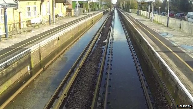 Flooded Winsdor to London train line