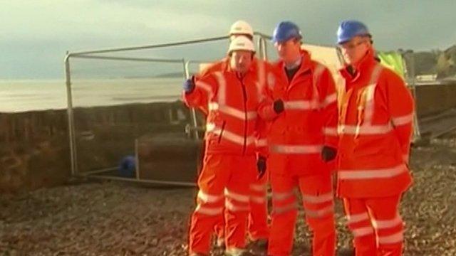 David Cameron in Dawlish with Network Rail engineers