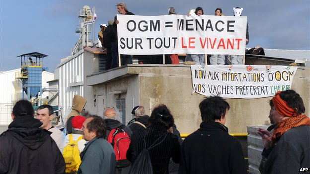 Anti-GM protest in Trebes, southwest France, 15 Apr 13