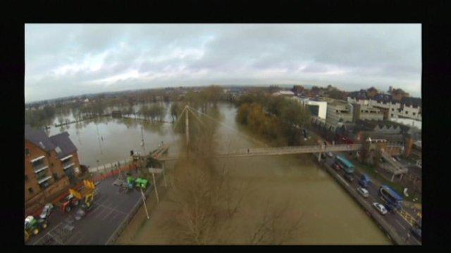Aerial shot of Shrewsbury in flood