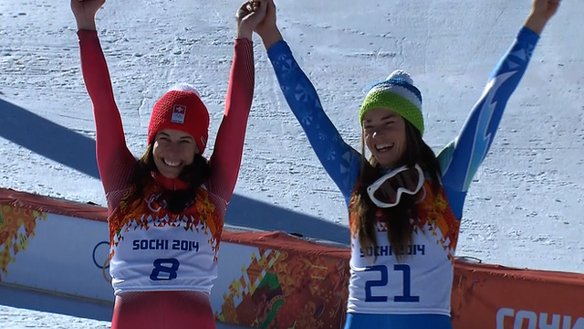 Downhill skiiers Dominique Gisin and Tina Maze (right)