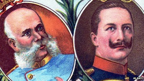 A postcard featuring Germany's Kaiser Wilhelm II (right) and Austrian Emperor Franz Joseph I (left)