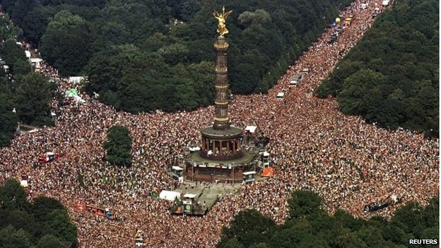 An aerial view of the Love Parade crowds at Berlin's Tiergarten, when the festival was still held there