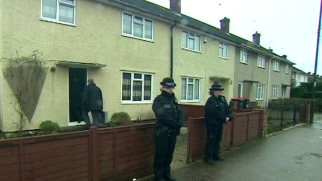 Anti-terror police search the house in Langley Green, Crawley, Sussex