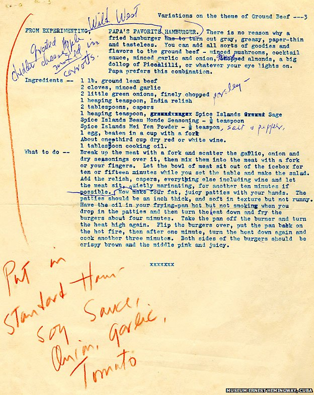Hemingway S Favourite Burger Recipe Bbc News