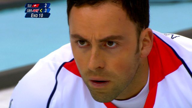 Great Britain's Dave Murdoch holds his nerve with the very last stone to edge out Switzerland 4-2